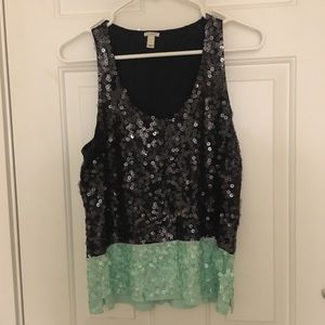 Sequin JCrew shell